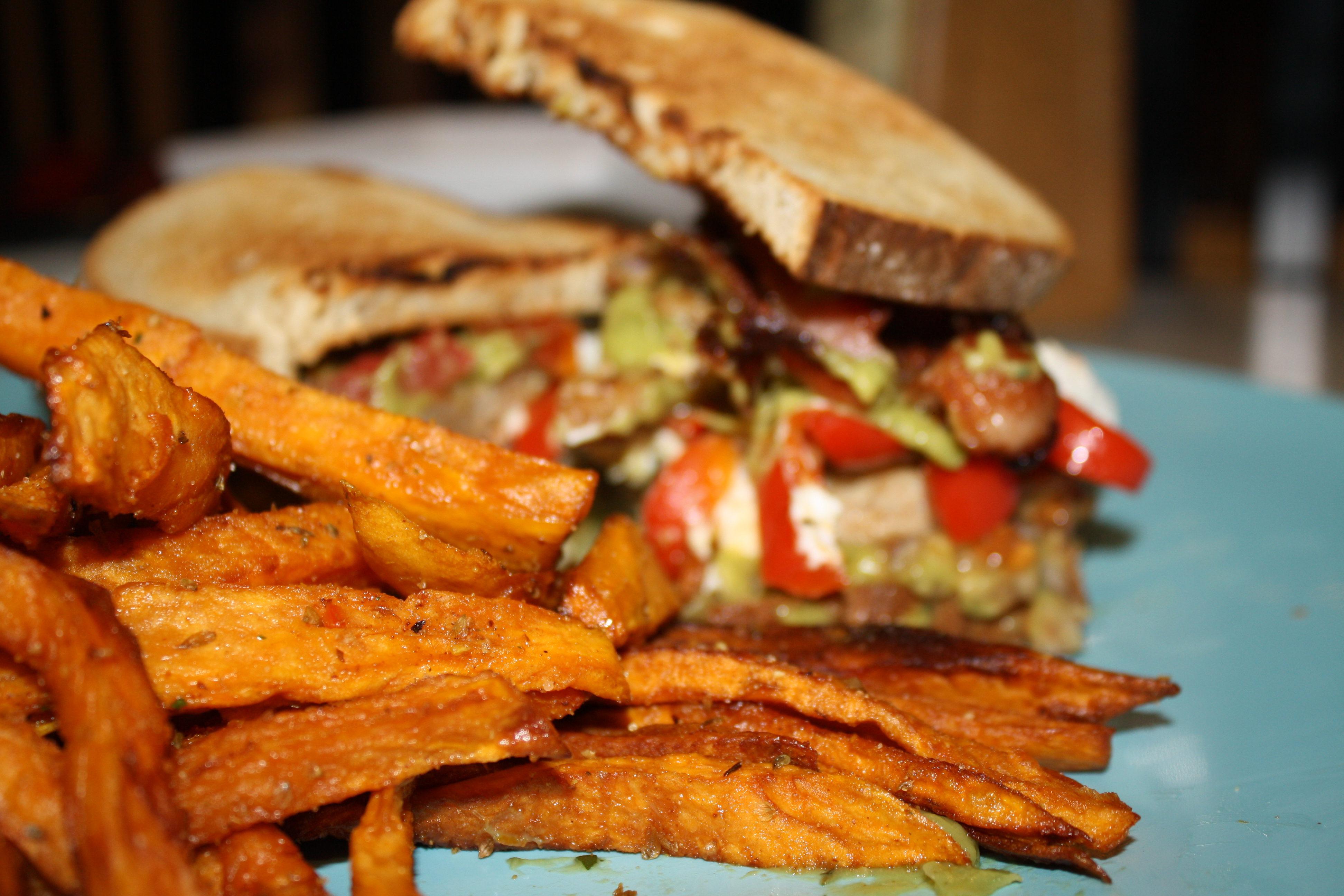 Jennifer's turkey burger and sweet potato fries start the summer off well