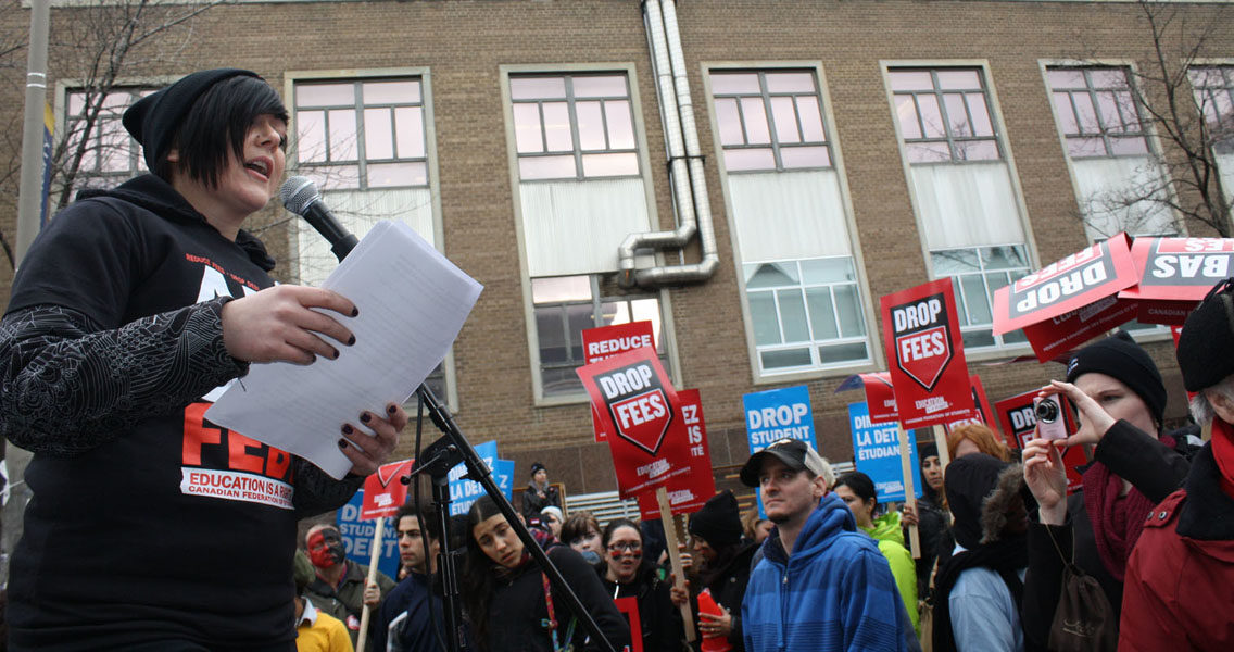 RSU president Melissa Palermo seen here at a CFS-organized rally in Feb. 2012.