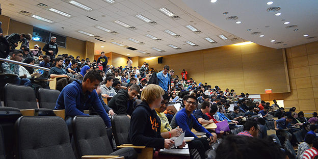 Overcrowded lecture halls are a common sight at the start of semester. (Ryersonian file photo)