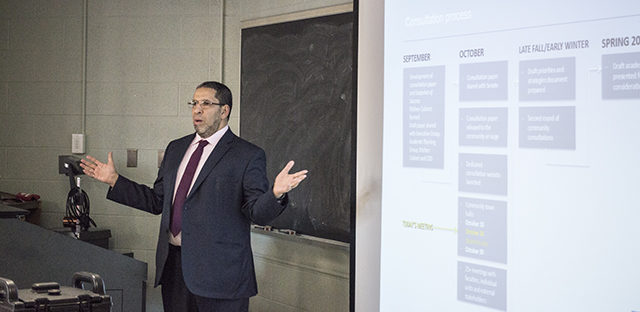 Ryerson's provost Mohamed Lachemi led the student townhall on Oct. 29.