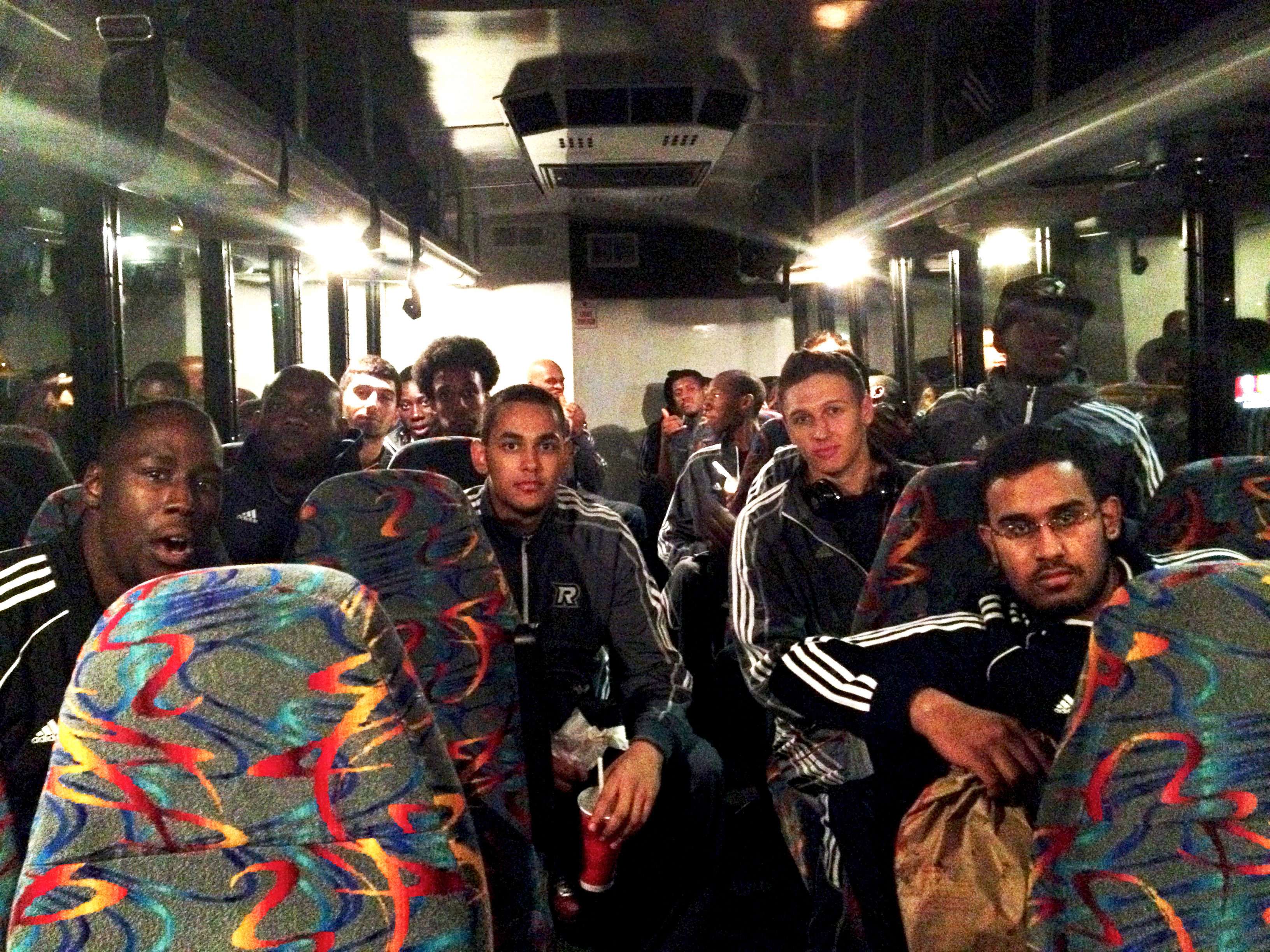 Ryerson men's basketball team 2013 on the road to Kingston