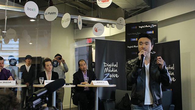 Michael Chang presents his company, Needle, during the DMZ's event. (Alexa Huffman / Ryersonian Staff)