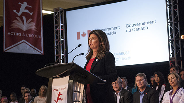 Federal health minister Rona Ambrose announces a national health coalition at Ryerson University. (Greg DeClara / Ryersonian Staff)
