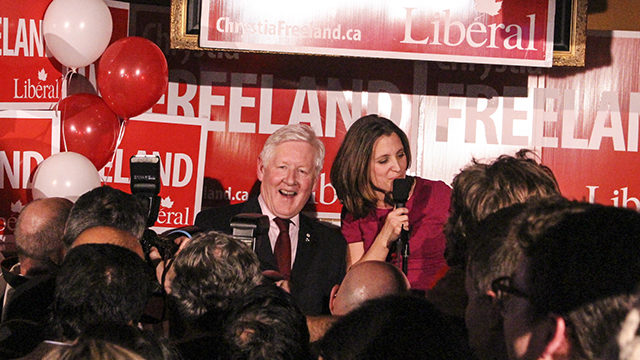 Former Toronto Centre MP Bob Rae, left, celebrates with Chrystia Freeland, the Liberal party's new MP for the riding. (Michael Duncan / Ryersonian Staff)