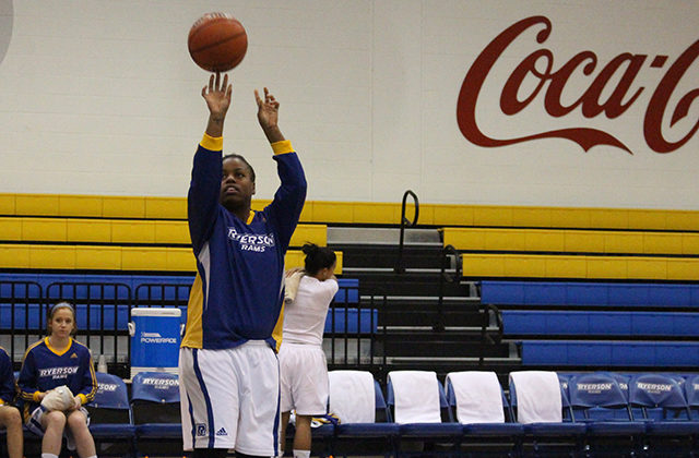 Keneca Pingue-Giles works on her short-range jumpshot. Dan Berlin / Ryersonian Staff