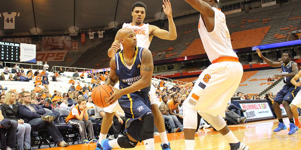 Orange crushed. The Ryerson Rams men's basketball team faced NCAA superstars Syracuse Orange in an exhibiton game in Syracuse N.Y. on Tuesday. The team lost by 35 points.