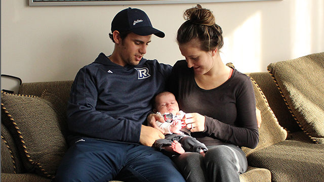 Steve Taylor and his fiancée Jen Lavers welcome newborn Bennett to their family. (Ryan McKenna/Ryersonian Staff)