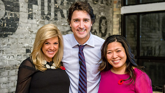 Left, Amanda Alvaro, Justin Trudeau and Mary Ng, Ryerson's acting director of the office of the president. (Photo courtesy Clifton Li)
