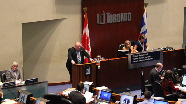 Rob Ford addresses council at the beginning of Wednesday's meeting (Peter Lozinski/Ryersonian Staff)