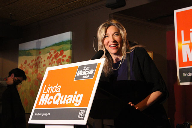 NDP candidate Linda McQuaig gives a speech after she lost the Toronto Centre byelection to Liberal Chrystia Freeland. (David Rockne Corrigan/Ryersonian Staff).