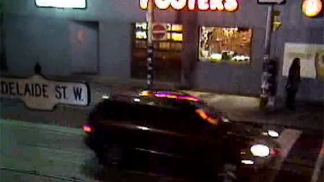 A CCCTV image of the black SUV that police say was involved in Christopher Skinner's death. (Toronto Police handout)