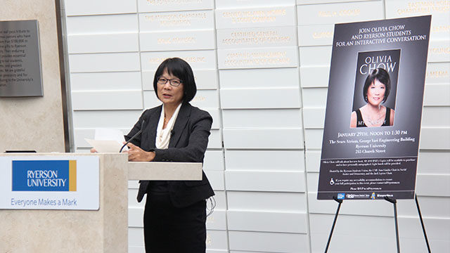 In this Jan. 30, 2014 file photo, Olivia Chow speaks at Ryerson University. (Cosette Schulz/Ryersonian Staff)