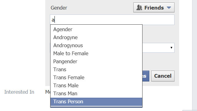Facebook now has more gender descriptors than 'male' and 'female'. (Courtesy Facebook)