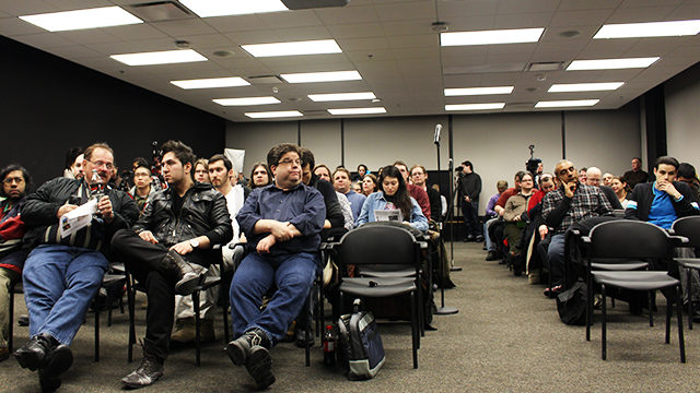 Audience members at the controversial men's rights event filled the room to the 100-person capacity. (Samuel Greenfield/Ryersonian Staff)