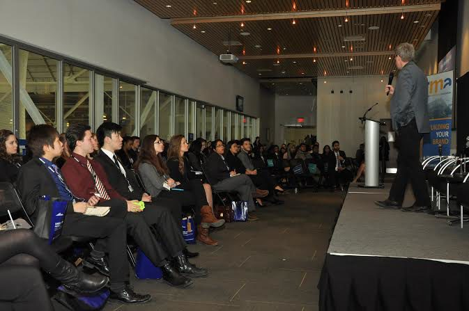 Students listen to one of the many marketing expert guest speakers at the first Ryerson Marketing Conference. (Leena Latafat / Ryersonian Staff)