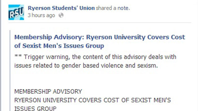 The statement posted on the Ryerson Students' Union Facebook page Wednesday night. (Courtesy Facebook)