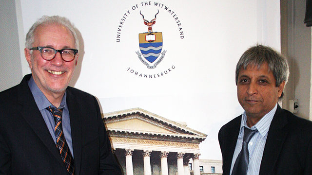 Ryerson president Sheldon Levy with Adam Habib, principal professor at the University of Witwatersrand in Johannesburg last week. (Courtesy Digitmal Media Zone)