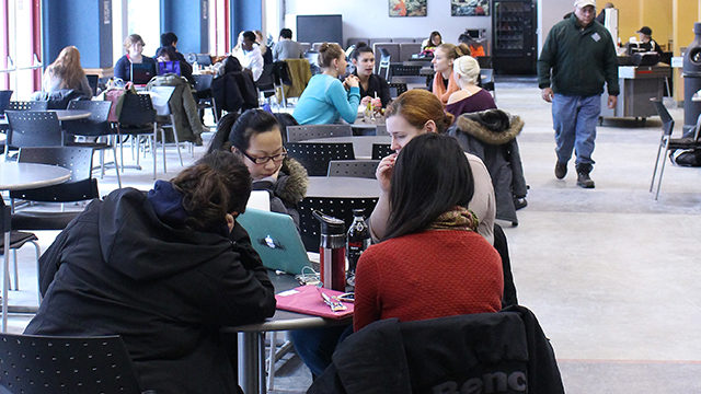 Students do homework in Pitman Hall. (Laura Zizek/Ryersonian Staff)