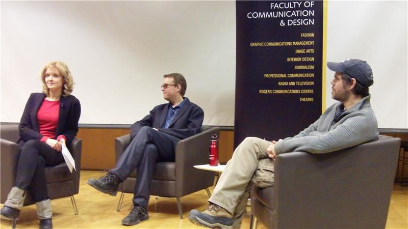 Ramona Pringle, left, with panelists Jesse Hirsh and Lance Weiler. (Sarah Jones / Ryersonian Staff)