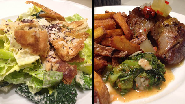 Kale ceasar salad - dulse, horseradish, bannock croutons (left). Pig & chips - pressed ontario pork shoulder, roast garlic fries, mustard greens kimchi (right). (Courtesy Samantha Sim)