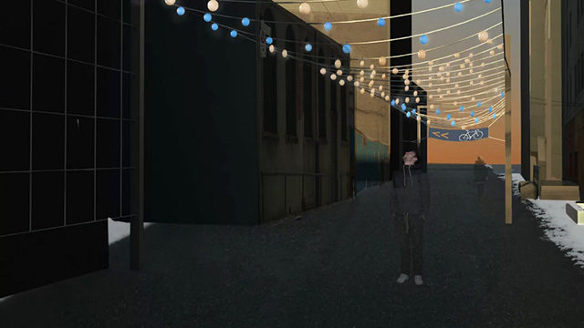 The winning design, The Urban Gateway,  features LED cable lights above the lane to increase safety and direct people to the bicycle room. Courtesy Angela Abolhassani, Amanda Scarlato and Yi Fan (Helen) Xie.