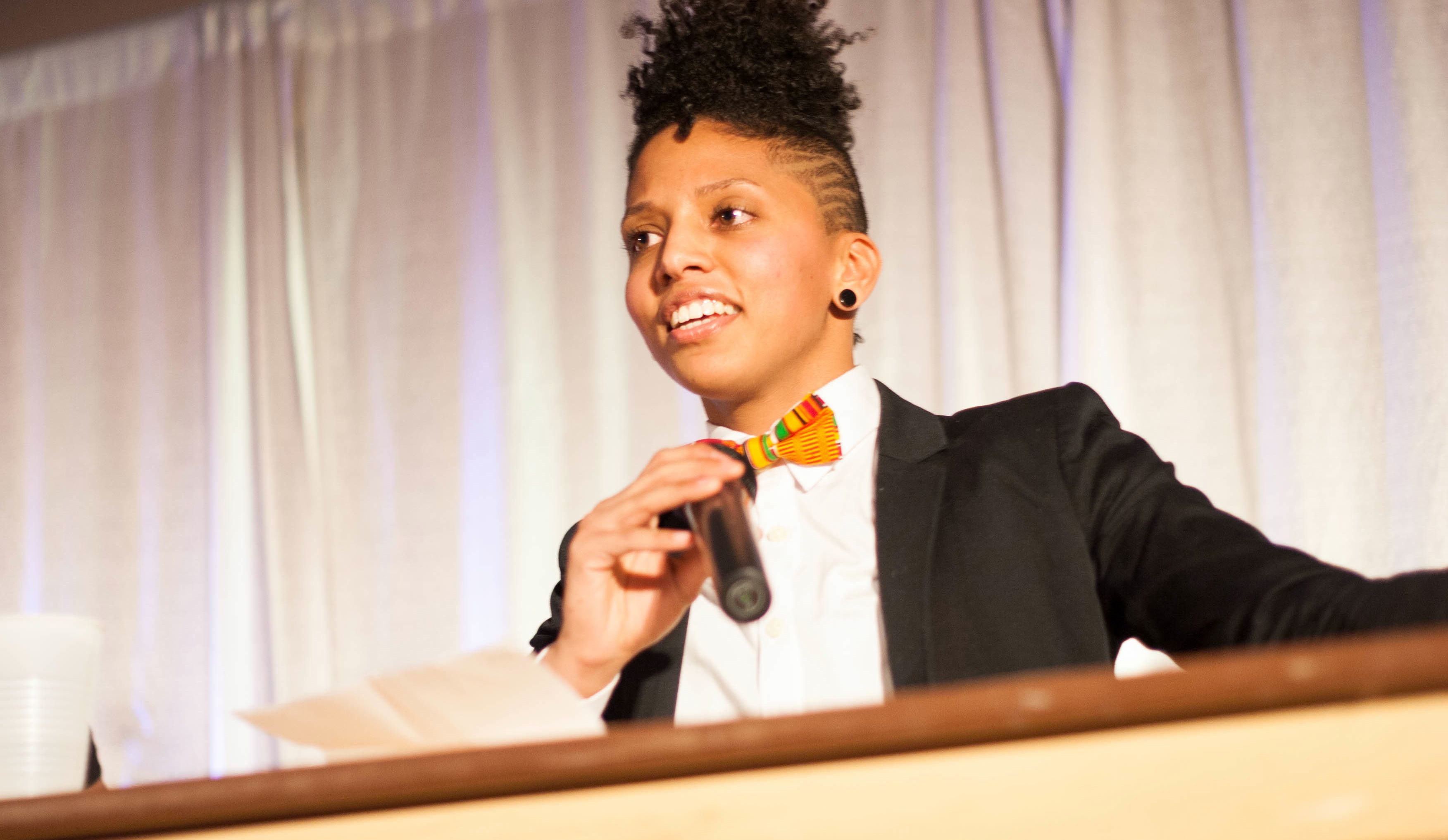 Jayana Khan, an activist and kickboxer, speaks at the fourth annual Queering Black History Month event on Feb. 28.