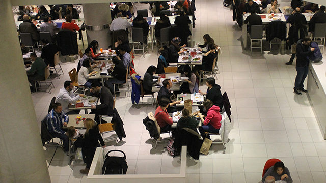 Patrons dine at the Eaton Centre's Urban Eatery, Photo by Alexa Huffman / The Ryersonian.