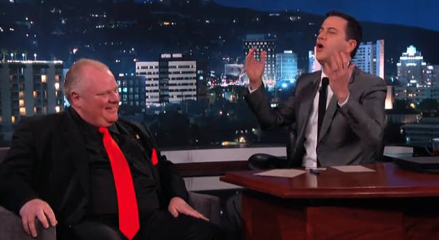 On Mar. 3, Mayor Rob Ford appeared on Jimmy Kimmel Live. (Photo Jimmy Kimmel Live!/Screenshot)