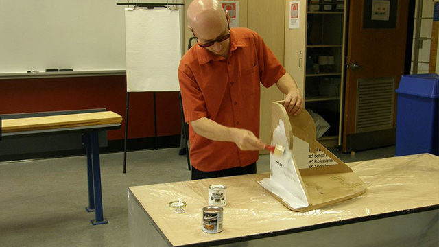 In Ryerson's EDGE lab, Jason Nolan builds cardboard designs for special needs kids. (Courtesy Jason Nolan)