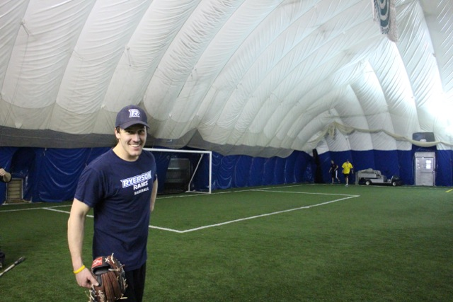 Josh Lund trains at an indoor facility in Toronto as part of his off-season workout.