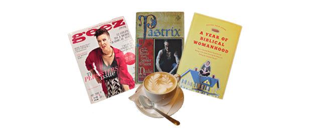 Top- books, magazine, coffee