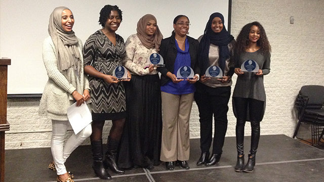 The winners from this year's Viola Desmond awards. Left to right: Omnia Abdorbo, Nicole Neverson, Marwa Ahmed, Keitha Prospere, Anisa Hassan and Hoda Abdel-Gaber. (Erica Huculak/The Ryersonian)