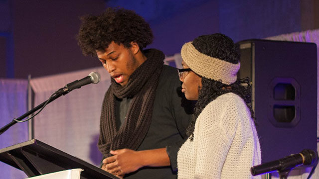 Ryerson Students' Union president and vice-president for equity elects Rajean Hoilett and Pascale Diverlus address the audience at the fourth annual Queering Black History Month event. (Photo Ethan Lou)