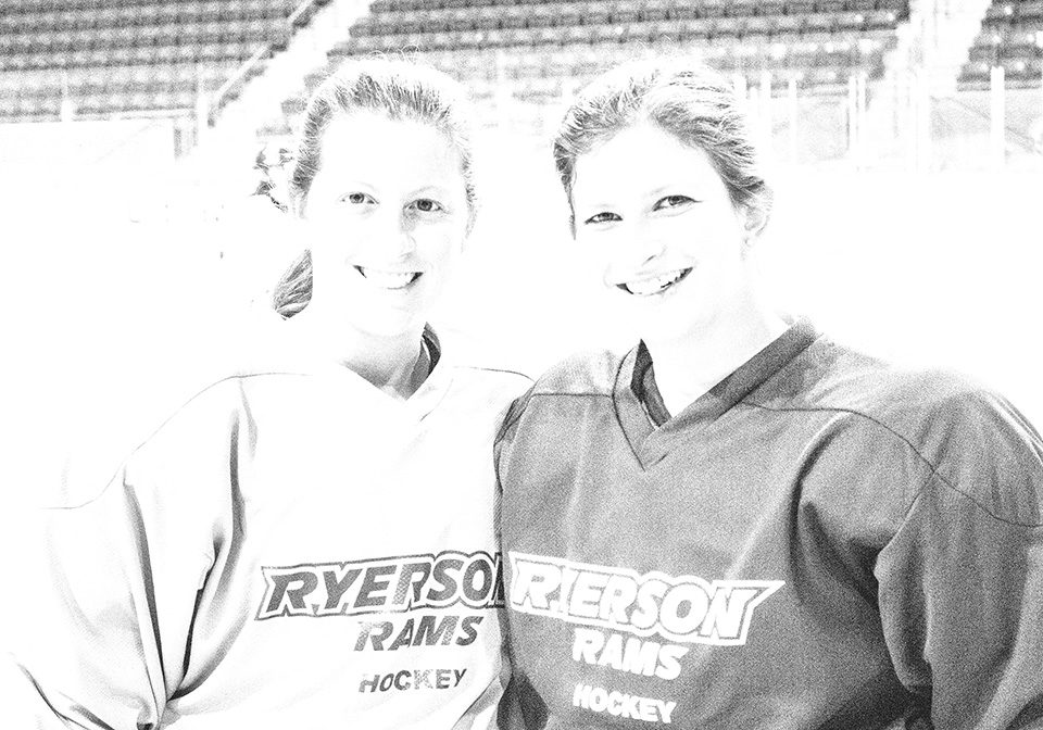 Ashley Wronzberg (left) and her sister, Melissa before an afternoon practice. (Courtesy Tristan Simpson/Ryersonian Staff)