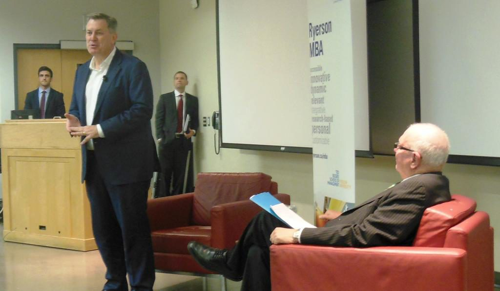 Maple Leaf Sports and Entertainment CEO Tim Leiweke speaks Thursday at an event organized by Ryerson's MBA program. A Ryersonian reporter was denied access at the door.  (Ryerson MBA/Twitter)