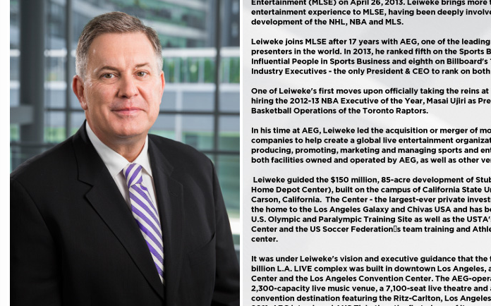 Maple Leaf Sports & Entertainment CEO Tim Leiweke in a screenshot of his biography page of the sports commercial firm. A Ryersonian reporter was told he needed personal approval from Leiweke in order to cover a talk he gave.  (Maple Leaf Sports & Entertainment )