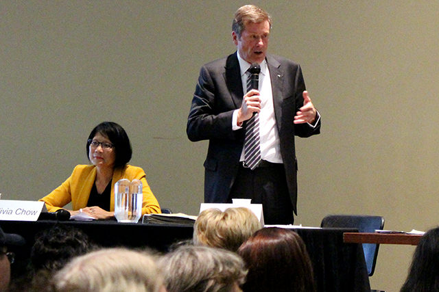 John Tory and Olivia Chow debated on a variety of disability issues at the Ryerson Student Centre.