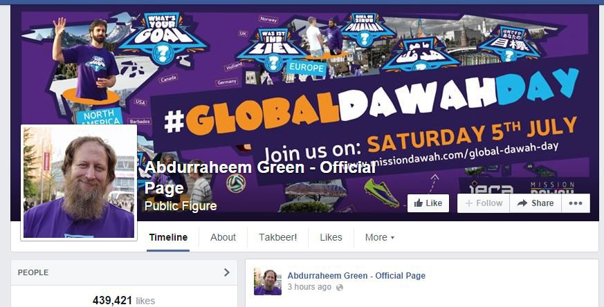 "Abdul Raheem Green's Facebook page. Green, an alleged ""extremist,"" was scheduled to speak at Ryerson on Thursday, but organizers have since said Green will no longer be appearing. (Abdul Raheem Green/Facebook)"