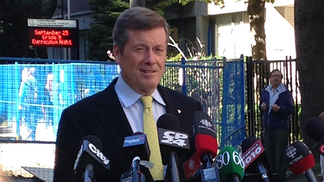 John Tory speaks at a media event on Tuesday. The previous day, the mayoral candidate cancelled on two appearances at Ryerson. (Kayla Hoolwerf/Ryersonian)