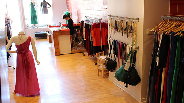Anne Hung at work in her  boutique on 829 West Queen West. (Stephanie La Leggia / Ryersonian Staff)