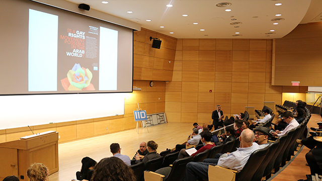 Author, professor Kamal Al-Solaylee speaks to the audience on Oct. 1, 2014 at Ryerson on gay rights in the Arab world. The lecture was part of a series hosed by the International Issues Discussion.