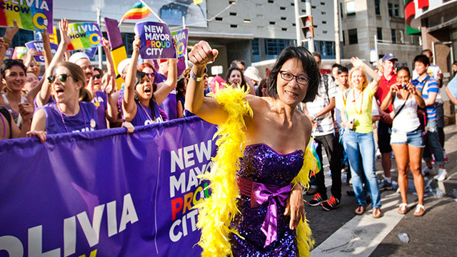 Mayoral candidate Olivia Chow, celebrates Pride Week in Toronto as supporters cheer on. (Courtesy/Wikimedia Commons)