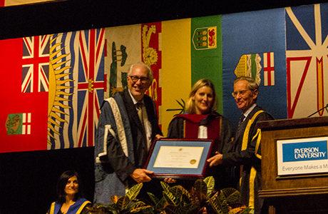 Hayley Wickenheiser receives her honorary doctorate. (Beth Bowers/Ryersonian)