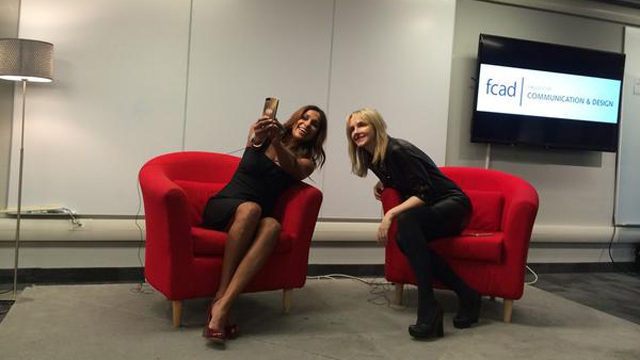 Kirstine Stewart and Sangita Patel take a selfie at Wednesday's event hosted by the RTA School of Media with Women in Communications and Technology. (Meg Campbell, Twitter)