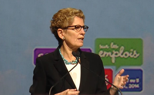 Screen grab from Ryersonian video of Kathleen Wynne speaking at the Good Jobs Summit (Ryersonian)