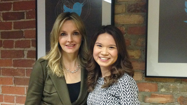 Kirstine Stewart, CEO of Twitter Canada, with 2013 winner Samantha Sim.