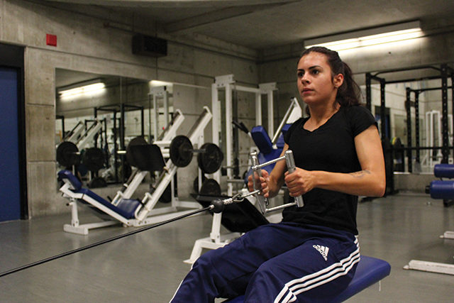 Ryerson student Jennifer Sousa exercises during women-only gym hours at one of Ryerson's gyms.