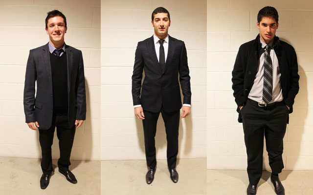 Jason Kelly, Matthew Andreacchi and Lucas Froese show off their pre-game style.