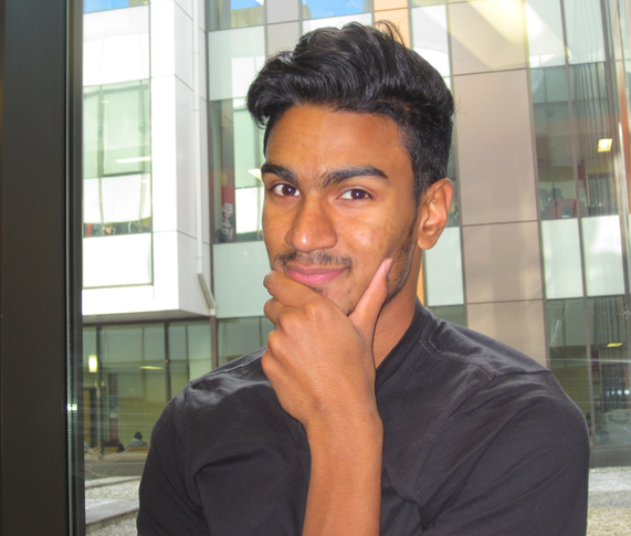 Showing off his Movember 'stache: Hamid Shihabdeen – second-year business technology management student (Alexis Goncalves / Ryersonian Staff)