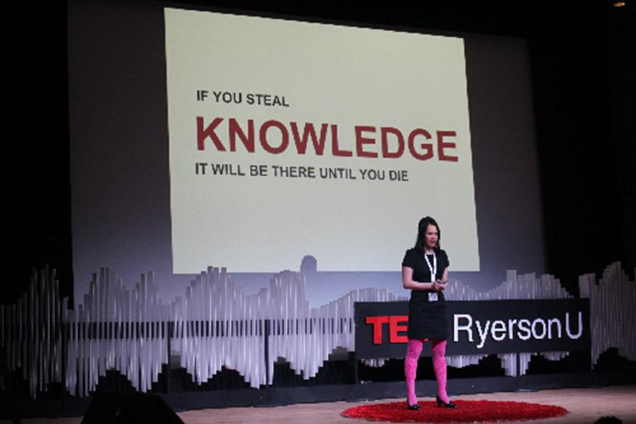 KwinMedia digital marketing strategist and Ryerson Fashion Zone advisor CamMi Pham speaks at the annual TEDxRyersonU event on Saturday.